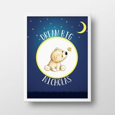 Dream Big Personalized Nursery Art Print  Nursery by BlanchardBits
