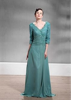 Fabulous Lace&Chiffon A-line V-Neck Floor-Length Mother of the Bride Dress by edressbridal
