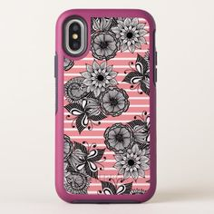 Modern Girly Flowers Leaves and White Pink Stripes OtterBox Symmetry iPhone X Case - girly gifts special unique gift idea custom