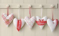 cuori con strofinacci; fabric heart, valentine