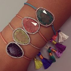 Our new druzy bracelets with handmade tassels are so gorg!