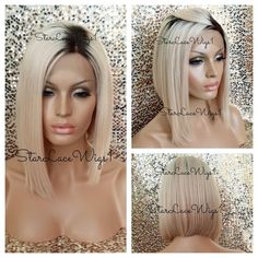 Human Virgin Hair Blonde Ombre Asymmetrical Beyonce Bob Glueless Lace Front Wig #StarLaceWigs #FullWig