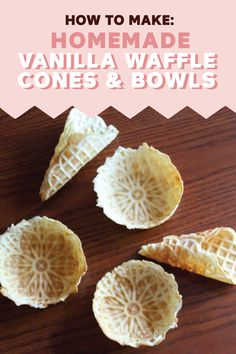 This recipe tutorial for how to make Homemade Vanilla Waffle Cones and Bowls makes it easy to add a fun twist to dessert. Bring out these golden-brown treats for any occasion this spring. Which flavor (Homemade Butter Churn) Waffle Cone Recipe Without Maker, Waffle Bowl Maker, Waffle Maker Recipes, Recipe For Waffle Cones, Ice Cream Waffle Cone, Ice Cream Bowl, Homemade Waffles, Homemade Desserts, Ice Cream Desserts