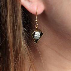 PYRITE EARRINGS  brass diamond earrings raw brass by madebyJMARIEL