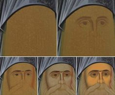 Face progression Byzantine Icons, Byzantine Art, Painting Process, Painting Lessons, Religious Icons, Religious Art, Face Icon, Russian Icons, Best Icons