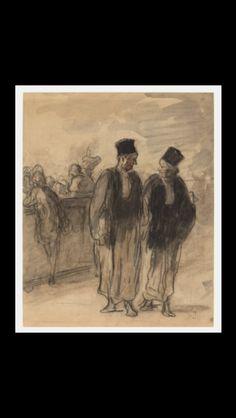 Honoré Daumier - Two lawyers - Crayon and stump with gray and orange wash on laid paper - 32,3 x 26,3 cm - Washington, NGA