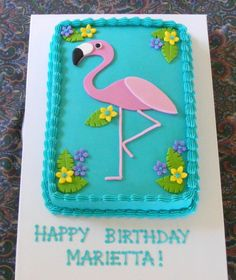 Flamingo - Buttercream with fondant flamingo (body only - legs are BC), flowers and leaves. Flamingo Cake, Flamingo Birthday, Pink Flamingos, Bird Cakes, Cupcake Cakes, Cupcakes, Pool Party Cakes, Fondant Cake Designs, Birthday Sheet Cakes