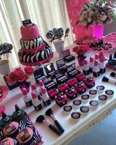 Makeup Birthday Party Party Ideas in 2019 Spa birthday, Pamper makeup ideas party - Makeup Ideas Barbie Birthday Party, 13th Birthday Parties, Barbie Party, Birthday Cake Girls, Birthday Party Themes, Birthday Cakes, Birthday Ideas, Makeup Birthday Parties, Zebra Birthday