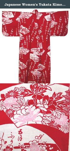 Japanese Women's Yukata Kimono Robe Fan Red 56in Size M. The yukata is a casual form of kimono that is also frequently worn after bathing at traditional Japanese inns. Though their use is not limited to after-bath wear, yukata literally means bath(ing) clothes. In Japan, the traditional Japanese Yukata are widely used for everything from dances, casual clothing in the summer, to simple night attire.
