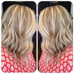 Blonde Balyage Long inverted bob by amber