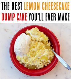 Whether you want a citrusy dump cake or cobbler, this Lemon Cheesecake Dump Cake Recipe is sure so satisfy your cravings! No Cook Desserts, Easy Desserts, Delicious Desserts, Yummy Food, Homemade Desserts, Yummy Yummy, Tasty, Dump Cake Recipes, Frosting Recipes