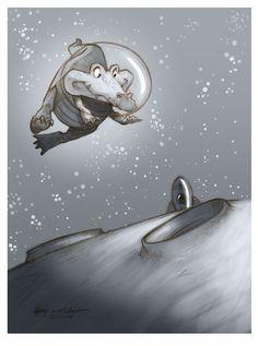 CROCK IN SPACE  by Guy Wolek, via Behance