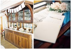 Original china cabinet, in the dining saloon of the SS Sicamous Stern Wheeler, Penticton. The cabinet has been decorated beautifully with trinkets and flowers. The Wedding Reception was held on board the SS Sicamous, while the wedding ceremony was held off ship, at a winery in Naramata (the heart of the Okanagan Wine Country).