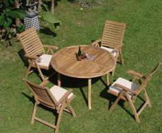 "Grade-A Teak Wood Luxurious Dining Set Collections (AL1): 5pc - 52"" Round Table and 4 Reclining Arm Chairs [**Click to see all sizes..] by TeakStation. $1099.99. 5pc Set includes: 52"" Round Table, 4 Reclining Arm Chairs. ADD SUNBRELLA FABRIC CUSHIONS BY SEARCHING ""Teakstation Dining Cushion"" ON AMAZON, CUSTOM MADE FOR THESE STYLE CHAIRS. The chairs are Flodable for easy storage.. Table comes with 2"" umbrella hole. Dimension: Table:52"" Round Table, 30.5"" H. Folding & R..."