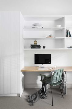 Curved benchtop idea in this home office desk. BRUNSWICK EAST - Bathroom and Kitchen Renovations and Design Melbourne - GIA Renovations Office Nook, Home Office Storage, Home Office Desks, Home Office Furniture, Bureau Design, Office Interior Design, Office Interiors, Small Office Decor, Office Ideas