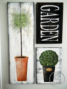 Paint your OWN topiary garden art on rustic boards. Excellent tutorial by Lake Girl Paints, featured on I Love That Junk. Want to do the Garden sign. Pallet Art, Diy Pallet Projects, Topiary Garden, Topiaries, Pintura Country, Country Paintings, Garden Signs, Happy Art, Home And Deco