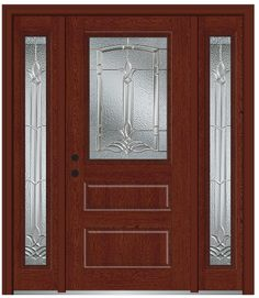 Shown Is A Bristol 1/2 Lite Horizontal 2 Panel Fiberglass Oak Entry Door