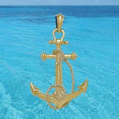 Mark Edwards Premier Collections: 45mm Hammered Marine Anchor Pendant with White Gold Rope