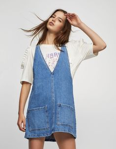 Denim pinafore dress - Dresses - Clothing - Woman - PULL&BEAR Israel