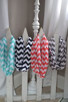 Chevron Infinity Jersey Knit Scarves Coral,Black,Aqua,and Grey. $15.00, via Etsy.....