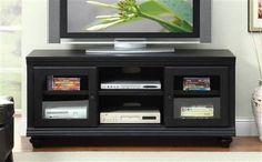 Barra Black Wood Tv Stand
