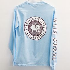 Sky Blue Campus Long Sleeve Tee ($36) ❤ liked on Polyvore featuring tops, t-shirts, long sleeve summer tops, longsleeve tee, summer t shirts, blue top and long sleeve tops