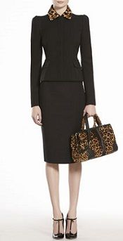 Business style: Gucci Wool Jacket with Jaguar Print Collar & Gucci Bonded Cotton-Blend Pencil Skirt