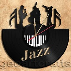 Wall Clock Jazz Vinyl Record Clock Upcycled Gift by geoartcrafts