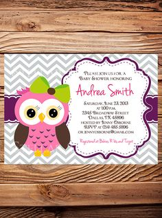 Owl Baby Shower Invitation, Baby Shower Invite, Boy, Girl, Blue, Blue, Pink, Chevron Stripes, Yellow, Green, Yellow (Item 5185)