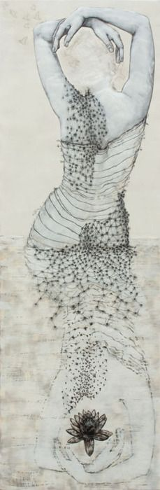 Andrea Benson, Wader with lotus (2010)