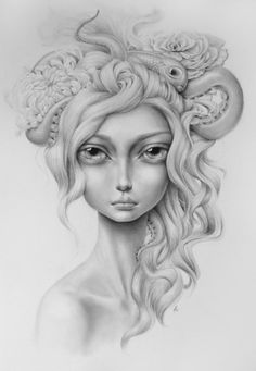 beautiful blonde girl fish octopus hair big eyes sensual emotional expressive art painting woman