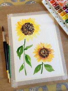 Learn how to paint a new flower every day with help from acclaimed watercolor artist, Yao Cheng. Known for her flowing, elegant style, Yao shares her technique Watercolor Cards, Watercolour Painting, Painting & Drawing, How To Watercolor, Watercolors, Watercolor Artists, Watercolor Portraits, Watercolor Landscape, Watercolor Sunflower