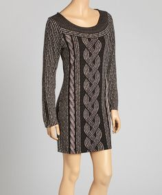 Take a look at this Black & Gray Cable Print Dress by Winter Patterns: Dresses & Leggings on @zulily today!