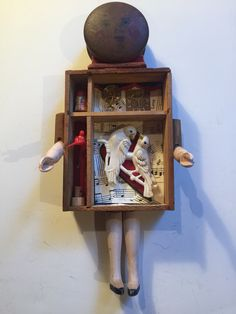 With Love and Time She Learned To Live Through The Pain. SOLD Mixed media assemblage of vintage box and jewelry. Artist: Debbie Siday