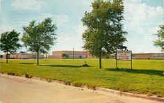 Clovis High School (1969) seen from the band practice field on Thornton Street, Clovis NM