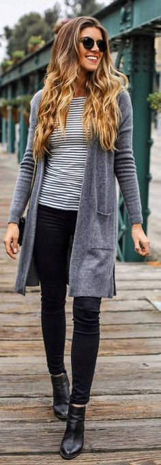 #fall #outfits grey cardigan striped shirt black jeans