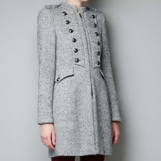 Zara Gray Wool Military Coat Used in Excellent Condition/ grey herringbone/ size XL but fits size L/More product details  Front and back buttons, epaulet. Shell: 42% wool, 32% acrylic, 22% polyester, 4% mohair Lining: 100% acetate Color: grey Zara Jackets & Coats Trench Coats