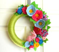 Spring Bunny 12 inch Felt and Yarn Wreath by EllaBellaMaeDesigns
