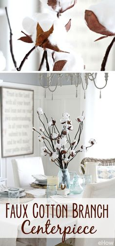 cotton branch centerpiece brings a rustic, but warm accent to your home Seasonal Decor, Fall Decor, Holiday Decor, Fall Crafts, Diy And Crafts, Rustic Decor, Farmhouse Decor, Rama Seca, Branch Centerpieces