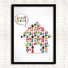 Cuadro marco de madera SWEET HOME -33x43-