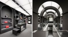 The Viktor & Rolf store in Paris (mais bien sur) is completely coated in gray Filz Felt. Love the look, and I'll bet it's soothingly quiet in there, but boy, the lint rollers they're going to go through!