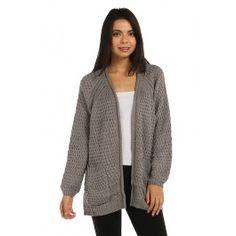 PATTERN KNIT POCKET TRIM SLOUCHY LONG LINE CARDIGAN. - Holiday Sweater Sale! -http://www.salediem.com/sales/holiday-sweater-sale/pattern-knit-pocket-trim-slouchy-long-line-cardigan.html