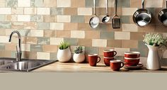 This rustic style gloss finish ceramic tile is available in 2 sizes, each with 10 colour ways. In addition, on the Bianco and Bone tiles there are a set of 3 decors. Kitchen Kit, Kitchen Board, Kitchen Wall Tiles, Ceramic Wall Tiles, Wall And Floor Tiles, Kitchen Living, Open Kitchen Layouts, Buy Tile, Ideas