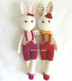 Amigurumi tavşan Amigurumi bunny Amigurumi rabbit Amigurumi Doll, Amigurumi Patterns, Crochet Patterns, Crochet Animals, Crochet Toys, Crochet Rabbit, Cute Creatures, Diy And Crafts, Bunny