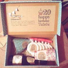 Идеи подарков♥Подарки любимым своими руками♥ Donut Birthday Parties, Birthday Box, Happy Birthday, Love Box, Party In A Box, Gift Baskets, Diy And Crafts, Birthdays, Great Gifts
