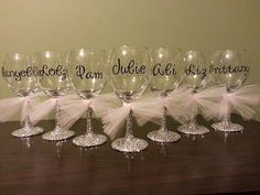Hey, I found this really awesome Etsy listing at https://www.etsy.com/listing/184164257/bridesmaid-glitter-stemmed-wine-glasses