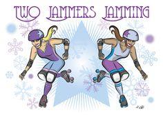Roller Derby Two Jammers Jamming Christmas Card op Etsy, 1,85 €