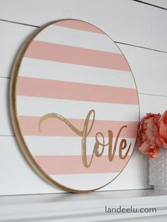 Grab a wood round from your local DIY store and make this darling striped Valentine& Day craft. a painted wood sign! Valentine Day Crafts, Valentine Decorations, Valentine Ideas, Valentines Sweets, Love Signs, Diy Signs, Crafts To Sell, Diy Crafts, Vintage Inspiriert
