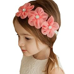 Miugle Baby Girl Headbands with Bows: Newborn Baby White Headbands With Triple Coral Flowers Toddler Hair Bows, Baby Hair Bows, Baby Girl Headbands, Latest Hairstyles, Cute Hairstyles, Hair Bow Supplies, Hair Bow Tutorial, White Headband, Dog Bows