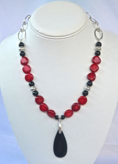 Red Coral and Black Onyx Necklace with by BellaMiaJewelryCA